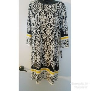 Forever Black and white damask print dress